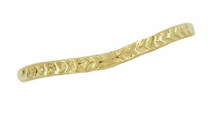 Art Deco Crown of Leaves Curved Filigree Engraved Wedding Band in 14 Karat Yellow Gold - Item WR299Y141 - Image 1