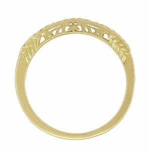 Art Deco Crown of Leaves Curved Filigree Engraved Wedding Band in 14 Karat Yellow Gold - Click to enlarge