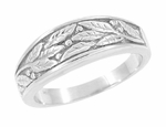 Olive Leaves Ring in 14 Karat White Gold - Women's Version