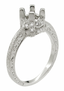Art Deco Knife Edge Engraved Crown Engagement Ring Setting for a 3/4 Carat Diamond in 18K White Gold | Vintage Ring Mount - Item R708 - Image 1
