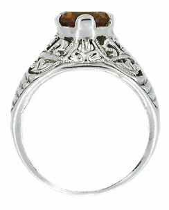 Edwardian Filigree Citrine Ring in Sterling Silver - Item SSR5 - Image 1