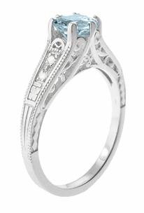 Art Deco Antique Style Filigree Aquamarine and Diamond Engagement Ring in 14 Karat White Gold - Click to enlarge