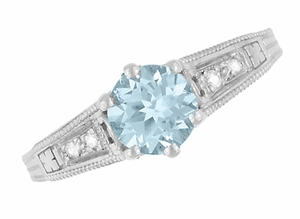 Art Deco Antique Style Filigree Aquamarine and Diamond Engagement Ring in 14 Karat White Gold - Item R158A - Image 5