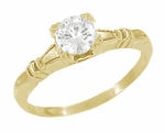 Art Deco Clovers and Hearts White Sapphire Engagement Ring in 14 Karat Yellow Gold