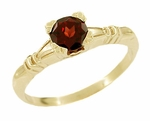 Art Deco Hearts and Clovers Almandine Garnet Engagement Ring in 14 Karat Yellow Gold
