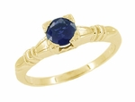Art Deco Hearts and Clovers Blue Sapphire Engagement Ring in 14 Karat Yellow Gold