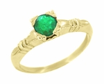 Art Deco Hearts and Clovers Emerald Engagement Ring in 14 Karat Yellow Gold