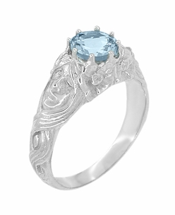 Art Nouveau Aquamarine Lady Ring in 14 Karat White Gold - Item R494 - Image 1