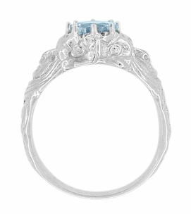 Art Nouveau Aquamarine Lady Ring in 14 Karat White Gold - Click to enlarge