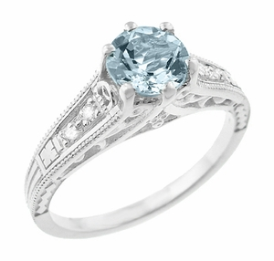 Vintage Style Aquamarine and Diamonds Filigree Art Deco Engagement Ring in Platinum - Item R158PA - Image 1