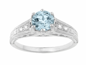 Vintage Style Aquamarine and Diamonds Filigree Art Deco Engagement Ring in Platinum - Item R158PA - Image 4