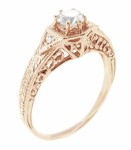Art Deco White Sapphire Filigree Engraved Engagement Ring in 14 Karat Rose ( Pink ) Gold - Item R149RWS - Image 1