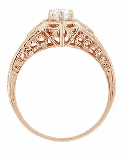 Art Deco White Sapphire Filigree Engraved Engagement Ring in 14 Karat Rose ( Pink ) Gold - Click to enlarge