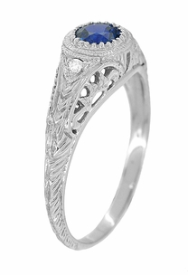 Art Deco Engraved Sapphire and Diamond Filigree Engagement Ring in Platinum - Item R138P - Image 1