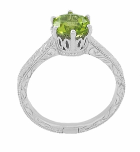 Art Deco Crown Filigree Scrolls Peridot Engagement Ring in 18 Karat White Gold - Click to enlarge
