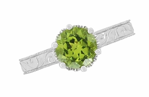 Art Deco Crown Filigree Scrolls Peridot Engagement Ring in 18 Karat White Gold - Item R199WPER - Image 4