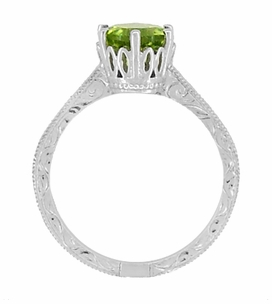 Art Deco Crown Filigree Scrolls Peridot Engagement Ring in 18 Karat White Gold - Item R199WPER - Image 5