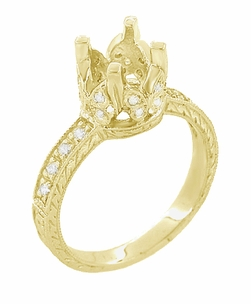 Art Deco 1 Carat Diamond Filigree Loving Butterflies Engraved Engagement Ring Setting in 18 Karat Yellow Gold - Item R178Y - Image 2