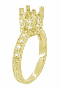 Art Deco 1 Carat Diamond Filigree Loving Butterflies Engraved Engagement Ring Setting in 18 Karat Yellow Gold - Click to enlarge