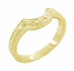 Art Deco Engraved Scrolls and Wheat Curved Wedding Band in 18 Karat Yellow Gold