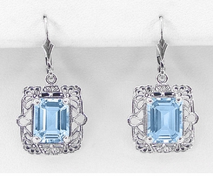 Art Deco Filigree Blue Topaz Drop Earrings in Sterling Silver - Click to enlarge