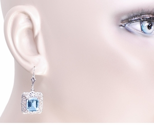 Art Deco Filigree Blue Topaz Drop Earrings in Sterling Silver - Item E154 - Image 2