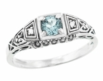 Art Deco Sky Blue Topaz and Diamonds Filigree Antique Style Engagement Ring in Sterling Silver