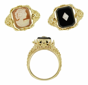 Filigree Diamond Flip Ring with Carnelian Shell Cameo and Onyx in 14 Karat Gold - Click to enlarge