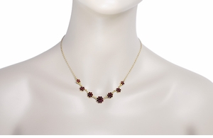 Victorian Bohemian Garnet Flowers Necklace in Sterling Silver Vermeil - Item N178 - Image 2