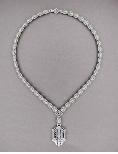 Art Deco Filigree Drop Pendant Necklace Set with Sapphire and Diamonds in Sterling Silver - Item N109 - Image 1