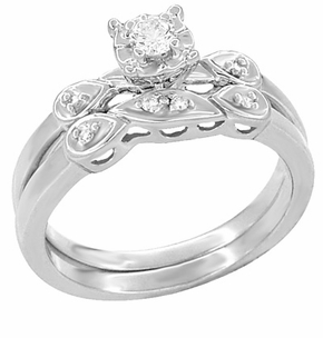 Retro Moderne Diamond Engagement Ring and Wedding Ring Set in Platinum - Item R380PS - Image 1
