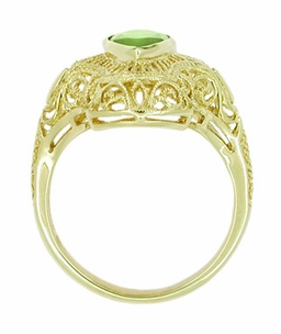 Art Deco Peridot Filigree Cocktail Ring in 14 Karat Yellow Gold - Item R611Y - Image 2