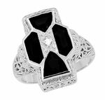 Art Deco Filigree Happy Family 4 Stone Black Onyx and Diamond Filigree Ring in 14 Karat White Gold