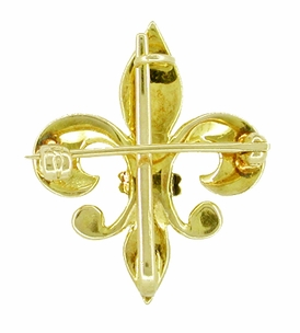 Antique Victorian Fleur de Lis Brooch and Watch Pin in 10 Karat Gold - Click to enlarge