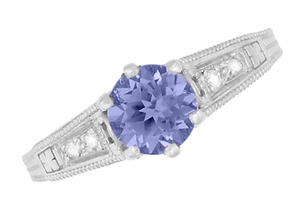 Art Deco Filigree Tanzanite Engagement Ring in Platinum with Diamonds - Item R158PTA - Image 5