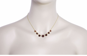 Victorian Flowers Bohemian Garnet Necklace in Sterling Silver Vermeil - Item N179 - Image 2