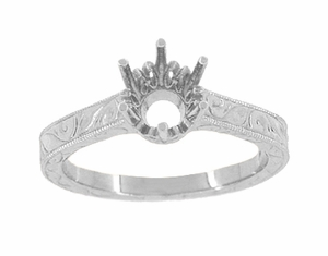 Art Deco 1 Carat Crown Filigree Scrolls Engagement Ring Setting in 18 Karat White Gold - Item R199W1 - Image 2