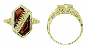 Art Deco Pyrope Garnet Shield Filigree Ring in 14 Karat Yellow Gold - Click to enlarge