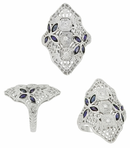 Art Deco Blue Sapphire and Cubic Zirconia Filigree Cocktail Ring in Sterling Silver - Click to enlarge