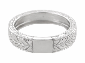 Men's Art Deco 5mm Wide Engraved Wheat Wedding Band Ring in 18 Karat White Gold - Item R909 - Image 2