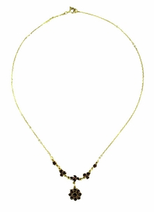 Lovely Victorian Bohemian Garnet Floral Drop Necklace in Sterling Silver and Yellow Gold Vermeil - Item N112 - Image 1