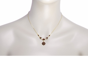 Lovely Victorian Bohemian Garnet Floral Drop Necklace in Sterling Silver Vermeil - Item N112 - Image 2