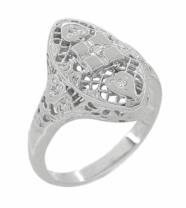 Art Deco Filigree Hearts and Diamonds Lozenge Shape Cocktail Ring in 14 Karat White Gold - Click to enlarge