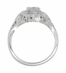 Art Deco Filigree Hearts and Diamonds Lozenge Shape Cocktail Ring in 14 Karat White Gold - Item R671 - Image 3