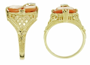 Filigree Diamond Set Cameo Ring in 14 Karat Yellow Gold - Click to enlarge
