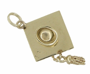 Graduation Cap Pendant Estate Charm with Movable Tassel in 14 Karat Gold - Click to enlarge