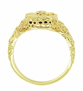 Art Deco Filigree Onyx and Diamond Ring in 14 Karat Yellow Gold - Item RV369 - Image 1