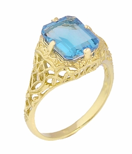 Art Deco Flowers and Leaves Swiss Blue Topaz Filigree Ring in 14 Karat Yellow Gold - December Birthstone - Item R289YBT - Image 2