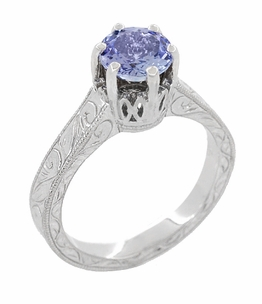 Art Deco Crown Filigree Scrolls Tanzanite Engraved Engagement Ring in Platinum - Item R199PTA - Image 1
