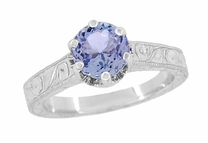 Art Deco Crown Filigree Scrolls Tanzanite Engraved Engagement Ring in Platinum - Item R199PTA - Image 2
